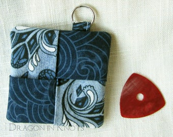 Guitar Pick Holder - Blue Fabric Earbud Pouch, Bird themed Keychain Pocket, Earplug Keeper with keyring, gift for young adult
