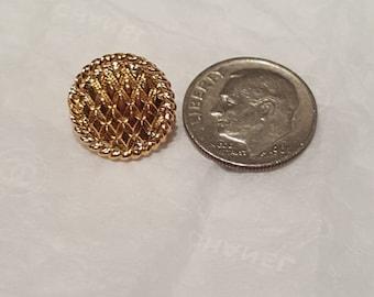 VINTAGE CHANEL gold lattice pie Button basket weave pattern shiny tiny