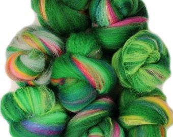 Bouquet -- mini batts (2 oz.) organic polwarth wool, silk, milk silk, bamboo, sparkle.