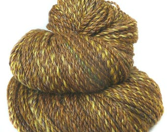 Handspun handdyed yarn Merino BFL wool baby silk kidmohair plied yellow brown