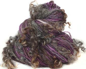Handspun Art Yarn hand spun handdyed Merino wool, silk & natural brown Wensleydale locks, curly yarn, tailspun, textured, curls