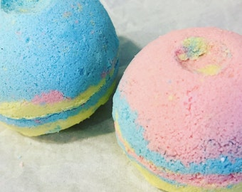 Unicorn Party - Froot Loops scented bath bomb fizzy. vegan. gift, favor. friend. women. shower favor. party favor. organic coconut oil.