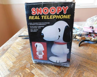 SALE Vintage Snoopy Push Button Telephone in Original Box 1958