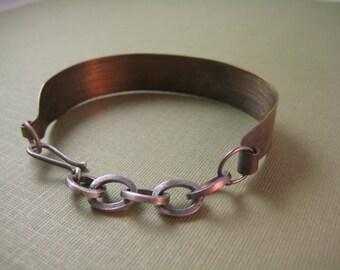 Ocean bracelet  Brass & Sterling wearable two ways  Wave pattern