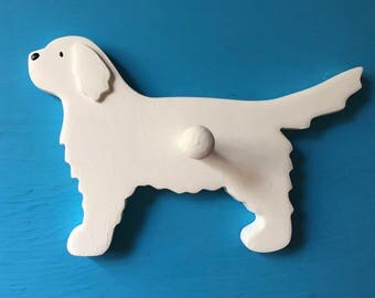 Great Pyrenees White Puppy Dog Wood Leash Holder Hook