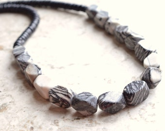 The Grand Turk- Black and Gray Jasper and Black Coconut Wood Necklace