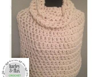 Crochet Poncho Pattern Instant Download PDF Bennington Capelet Cowl Neck Beginner's Cape Pattern Shawl Wrap Instructions