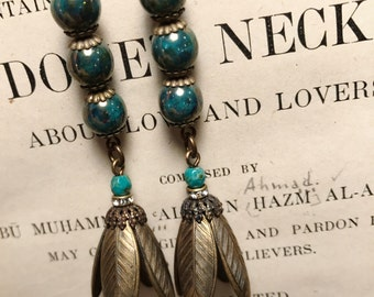 Long Bronzed Turquoise and Antique Brass Art Deco Vintage Inspired Flower  Drop Earrings