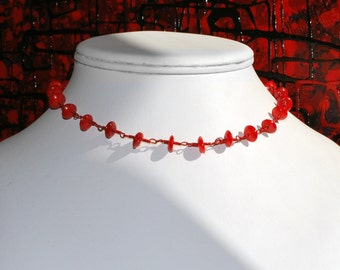 Hand worked wire and gemstone necklace - red colour with sea bamboo