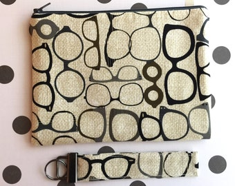 Glasses print clutch and key chain gift set - glasses print zipper pouch - key FOB - makeup bag set - UNDER 25.00 gift for her