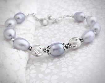 Pearl Bracelet, Sterling Silver Bracelet, Real Freshwater Pearls, Lilac Light Purple, Gift for Her, Wedding Bracelet, Hawaiian Jewelry