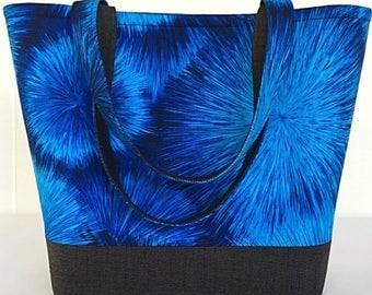 SALE Large tote bag, Handbag, tote bag with pockets, Blue, Totes and purses, Purse, Womens handmade, handbags