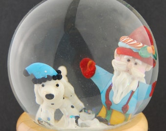 Working Santa and His Helper Glass Snow Globe by Marcy Lamberson