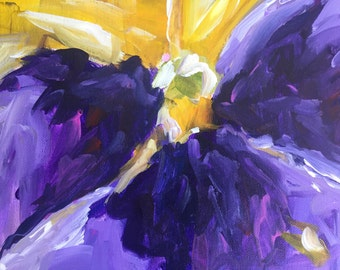 Abstract floral painting  Flower Art shabby chic home decor Purple Monet pansy expressionism