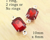 Ruby Red Glass Beads - 10mm x 8mm Octagons in Silver or Brass Settings - Stud Earring Jewels - Glass Rhinestone Gems - One Pair