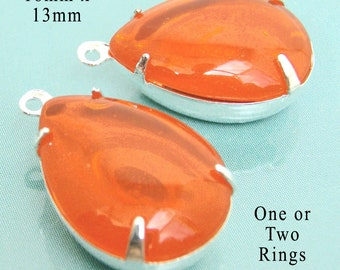 Hyacinth Orange Framed Glass Beads - Pear or Teardrop - 18mm x 13mm - Sheer Glass Jewels - Pendant or Earrings - Jewelry Supplies - One Pair