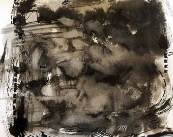 "Black Block 1704 - Ink Wash ORIGINAL Abstract Art Painting on Watercolor Paper by Regia Marinho. Black White Decor, Size: 12""x12 inches"