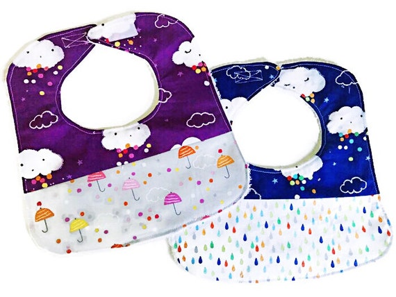 Umbrella Clouds Baby Bib, Purple Baby Girl Bib, Handmade Infant Bib