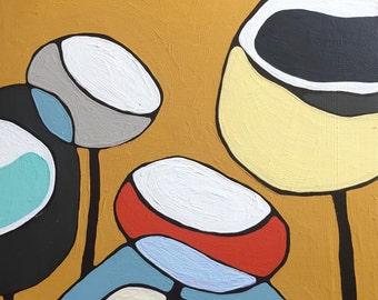 "Poppies on Ochre Painting 15""x15"" // Modern Poppy // Modern Decor // Abstract Art // Rachel Austin // Circle Art // Mid Century"