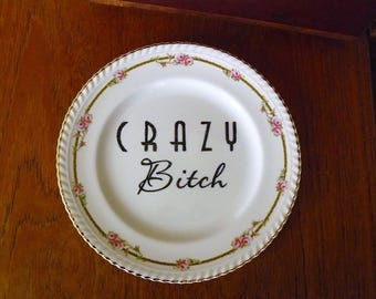 Crazy Bitch hand painted vintage china dinner sized plate recycled humor edgy display funny decor