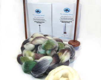 Double Drop Spindle Yarn Spinning Kit, Birch Trees With both Top and Bottom Whorl Spindles
