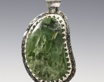 CLEARANCE. Nephrite Jade Pendant. Sterling Silver Necklace. Genuine Gemstone. Freeform Cabochon. One of a Kind. s13p002