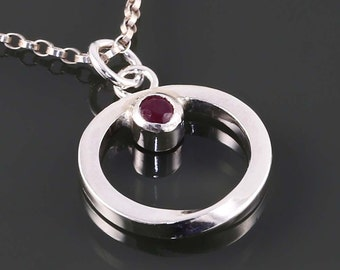 Ruby Möbius Pendant. Sterling Silver Necklace. Genuine Gemstone. July Birthstone. Gift for Her. Eternity. s15p006