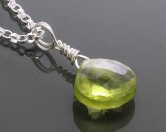 Small Peridot Pendant. Sterling Silver Necklace. Genuine Gemstone. August Birthstone. Greenery. f17n004