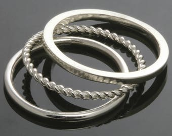 3 Stackable Rings. Skinny Rings. Sterling Silver. Mix & Match. Made to Order.