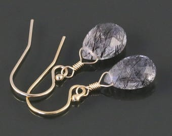 Rutilated Quartz Earrings. Gold Filled Ear Wires. Genuine Gemstone. Lightweight Earrings. s17e008
