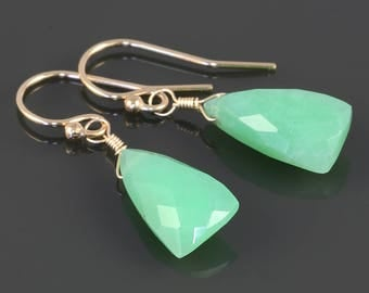 Chrysoprase Earrings. Gold Filled Ear Wires. Unique Triangle Shape. Genuine Gemstone. Lightweight Earrings. s17e049