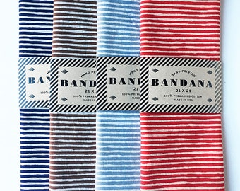 Set of 4 Striped Bandanas, Hand Screen Printed and Soft