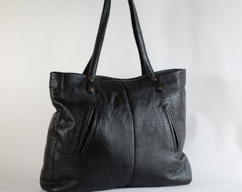Handmade large black leather bag, zipper top