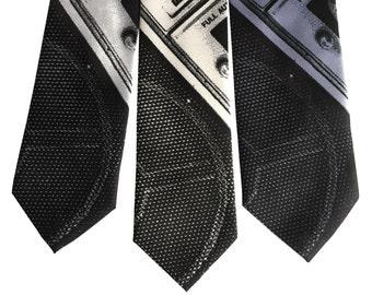 Boombox Print Silk Necktie, Old School Ghetto Blaster Tie. Retro 80's stereo silkscreen print men's tie.