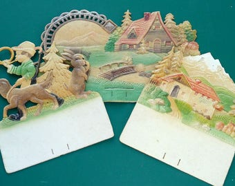 Vintage 3D Pressed Paper Compound Painted Scenes