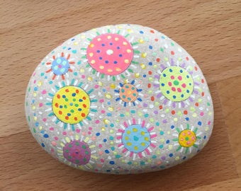 Hand-painted rock - Fireworks