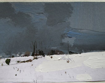 Low, Original Winter Landscape Collage Painting on Paper, Stooshinoff