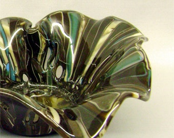 Organic Holey Glass Bowl in Browns and Turquoise