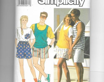 Simplicity Misses' , Men's and Teen Boys' and Girls' Shorts and Tops for Stretch Knits Only Pattern 9720