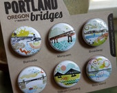 Portland Bridges II One Inch Super Strong Magnets Set of Six