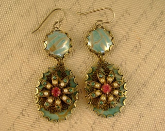 Frida - Vintage Recycled Hand Cut Turquoise Tin Rhinestones Earrings - Upcycled Repurposed Jewelry - 10th Anniversary Gift