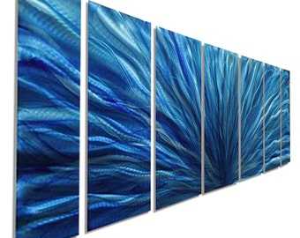 Large Multi Panel Modern Metal Wall Art in Blue & Aqua, Abstract Metal Painting, Contemporary Home Decor - Aqua Blue Plumage by Jon Allen