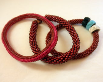 Beaded Bangle Bracelet Bundle Red Red and Red