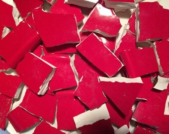 100 Mosaic Tiles Broken Plate Tesserae SOlid Tile  Hand Cut Red Solid Pieces Mix 100