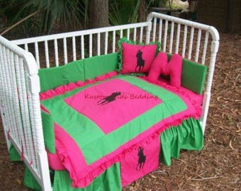 Custom made 7 piece RALPH LAUREN POLO Crib Bedding Set in Pink/Green or Any Color Fabrics