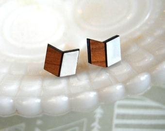 chevron style bamboo and white enamel post earrings- modern