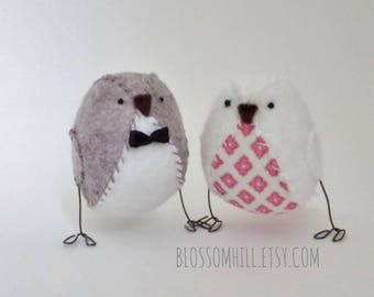Wedding cake topper - love birds in driftwood with blush pink fabric