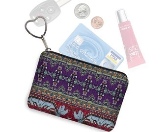 Colorful Boho Business Card Case Key Chain Key Fob Small Zipper Pouch Coin Purse Digital Turkish Tapestry, Kilim Fabric, red blue purple MTO