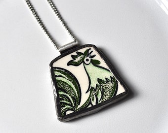 Broken China Jewelry Pendant - Rooster