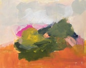 abstract landscape painting pink and orange green bright colors 9x12 original acrylic painting